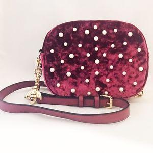 Christian Siriano Velvet Pearl Crossbody Bag